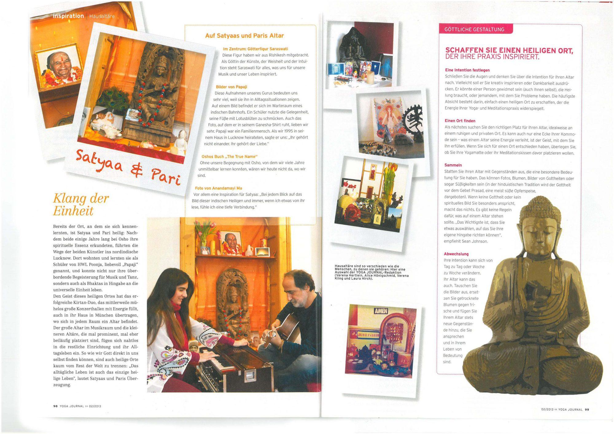Yoga Journal Spiegel Des Herzens Satyaa Pari Retreats